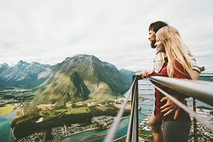 Couple in love enjoying mountains