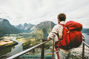 Backpacker traveling in Norway
