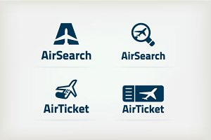 Set of logos for airlines