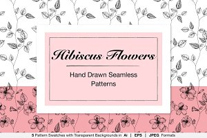 Hand Drawn Hibiscus Flower Patterns