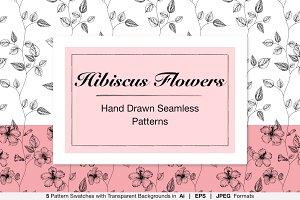 Hand Drawn Hibiscus Flower Patterns