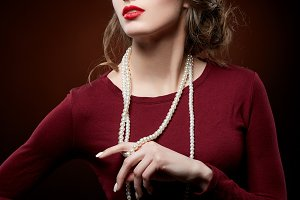 beautiful girl with pearl necklace