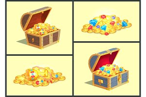 Treasures in Wooden Chests Vector Illustration