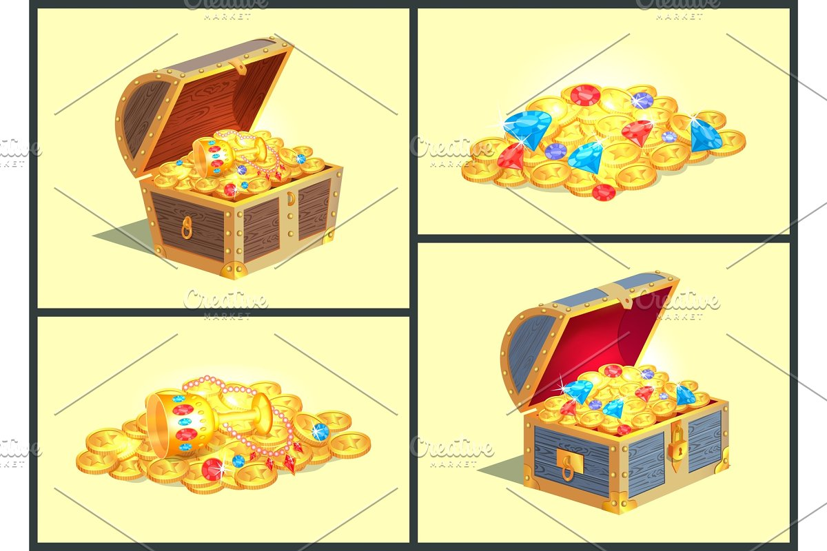 Treasures in Wooden Chests Vector Illustration in Objects