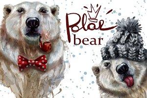 digital watercolor polar bear