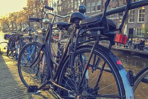 Parked bicycles in Amsterdam