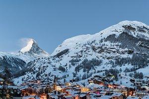 Sunrise in Zermatt village