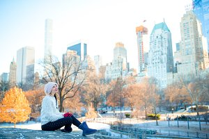 Young beautiful woman in Central Park at New York City