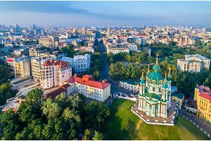 Aerial view of Saint Andrew church in Kiev, Ukraine