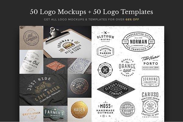 50 Logo Mock-ups + 50 Logo Template…