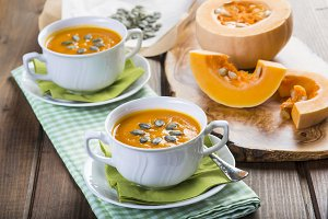 Creamy pumpkin soup for Christmas