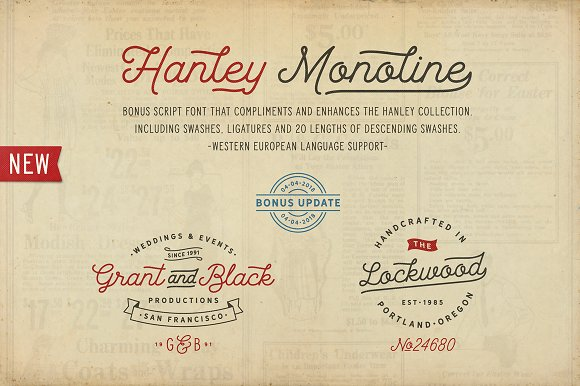 Hanley Font Collection in Script Fonts - product preview 4