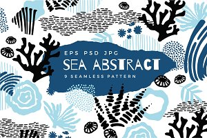 Sea abstract. 9 seamless patterns