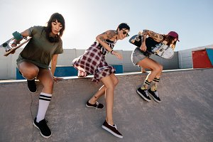 Female skaters having fun
