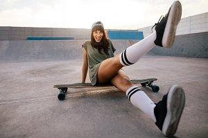 Female skateboarder having fun