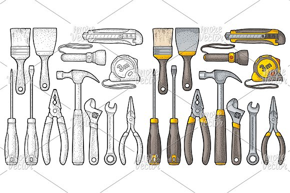 Set Hardware Tools Vector Engraving