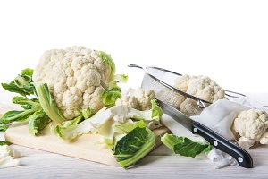 Fresh cauliflower on the cutting board