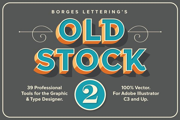 Actions: Borges Lettering - Old Stock II - Vector Design Tools.