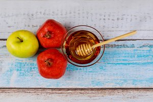 Pomegranate, apple and honey