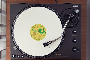 Vintage Record Turntable Plays Vinyl