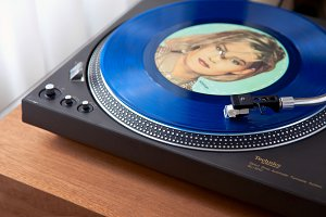 Vintage Record Turntable Plays Blue