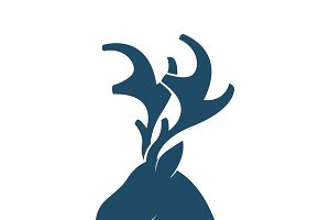 deer head vector logo template