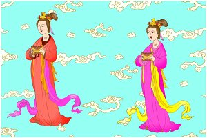 Chinese women with clouds background