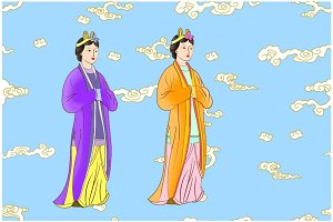 Anciently Chinese women with Clouds