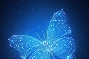 Polygon butterfly on blockchain hud banner.