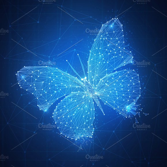 Polygon Butterfly On Blockchain Hud Banner