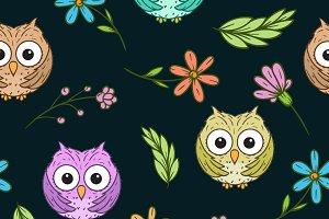 cute owl seamless pattern