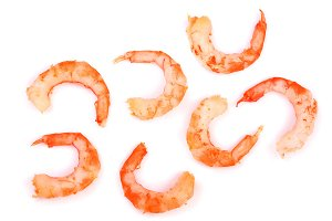 Red cooked prawn or shrimp isolated on white background. Top view. Flat lay