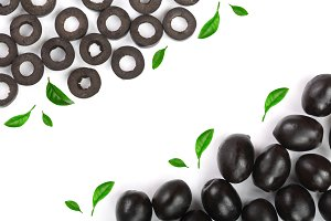 whole and sliced black olives isolated on white background with copy space for your text. Top view. Flat lay pattern