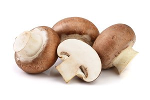 Royal Brown champignon with half isolated on white background
