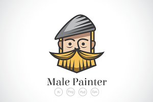 Male Painter Logo Template