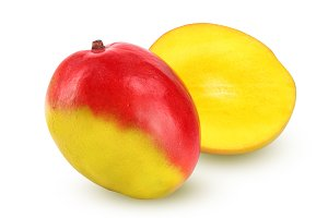 Mango fruit and half isolated on white background close-up