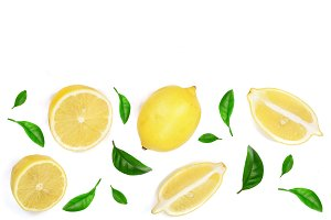 lemon decorated with green leaves isolated on white background with copy space for your text. Flat lay, top view