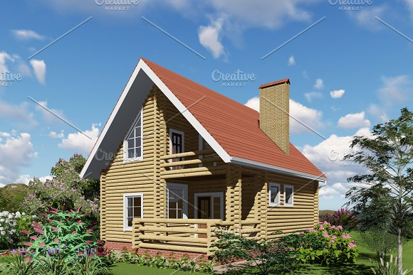 3D Visualization Wooden House