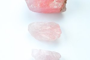 rose quartz on white