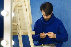 Artist prepares a palette