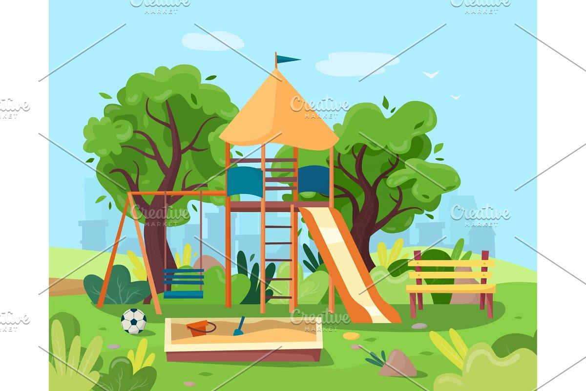 Kids Playground In City Park Swings Sandbox Slide Tree And Bench