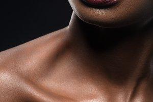 beautiful black woman red lips closeup