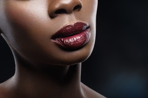 beautiful black woman red lips closeup