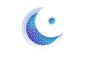 Arabic blue crescent moon window arch in paper cut style. Origami Ramadan Kareem greeting cards. Arabesque pattern. Holy month of muslim. Symbol of Islam
