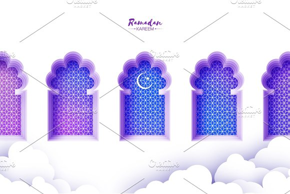 Arabic Window Arch In Paper Cut Style Origami Ramadan Kareem Greeting Cards Arabesque Pattern Crescent Moon Holy Month Of Muslim Symbol Of Islam