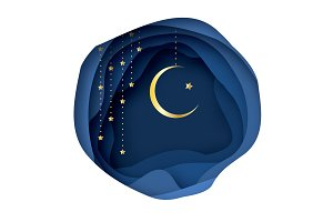 Ramadan Kareem Greeting card with arabic Gold Symbol of Islam - Crescent Moon.