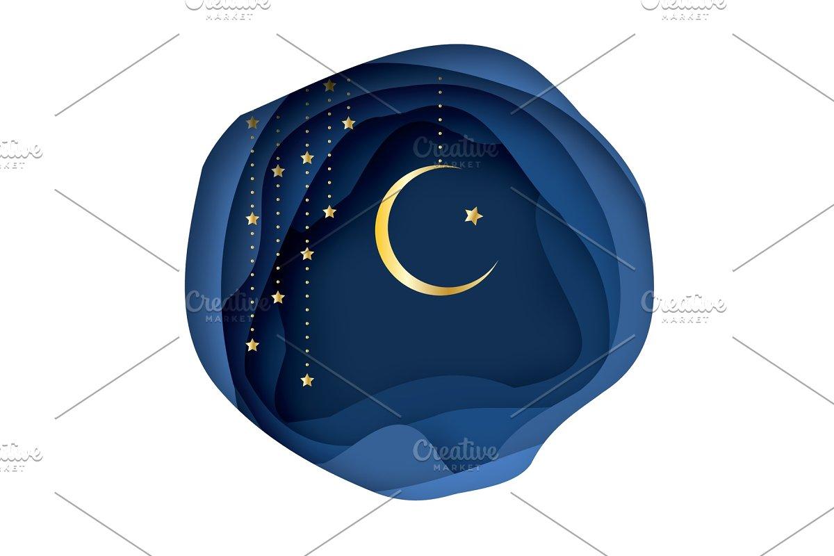 Ramadan Kareem Greeting card with arabic Gold Symbol of Islam - Crescent  Moon