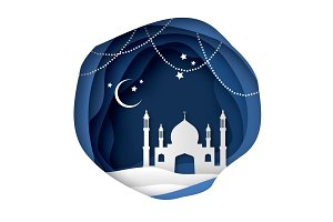 Ramadan Kareem Greeting card with arabic White Origami Mosque. Holy month of muslim. Crescent Moon.
