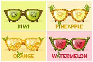 Set Fruit glasses, vector illustration Watermelon, orange, pineapple and kiwi