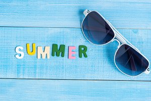sunglass and text summer
